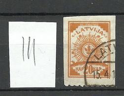 LETTLAND Latvia 1919 Michel 19 Perforated 9 3/4 At Bottom Margin O Striped Paper - Latvia