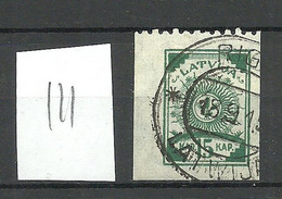 LETTLAND Latvia 1919 Michel 18 Perforated 9 3/4 At Top Margin O Striped Paper - Latvia
