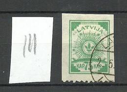 LETTLAND Latvia 1919 Michel 23 Perforated 9 3/4 At Bottom Margin O Striped Paper - Latvia