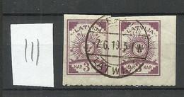 LETTLAND Latvia 1919 Michel 15 Einseitig (unten) Perforiert 9 3/4 O Pair - Lettonia