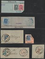 1901-29-FRAGMENTOS-ALFONSO XIII-CADETE Y VAQUER. Lote De Fragmentos, Los Sellos De La Emisión Del Cadete BISECTADOS - Oblitérés
