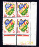 YT-N°: 1195 - Blason D'ALGER, Coin Daté Du 19.02.1959, Galvano B De A+B, 1er Tirage, NSC/**/MNH - 1950-1959