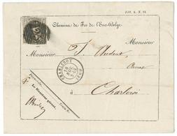 "Envel. À Entête ""Chemin De Fer De L'Est Belge"" Affr. N°10AP25 CHARLEROY/1860 Ev. R - 1858-1862 Medallions (9/12)"