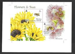 Pitcairn Islands 2008 Flowers & Bees Miniature Sheet Imperforate Printer's Proof , Wide Margins - Pitcairn Islands