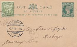St. Vincent: 1909 Post Card To Dieburg - St.Vincent (1979-...)