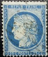N°60Aa. Variété. Cérès 25c Bleu Foncé. Oblitéré.... - 1871-1875 Ceres