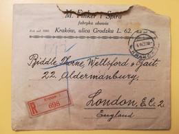 1927 BUSTA INTESTATA RACCOMANDATA POLONIA POLSKA  BOLLO EDIFICI BUILDINGS OBLITERE' KRAKOW RECOMMANDE - Covers & Documents