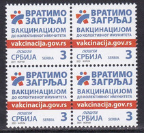 Serbia 2021 Vaccination Against Corona Health Disease Medicine Covid 19 Block Of 4 Stamp MNH - Serbia