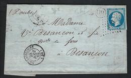 FRANCE 1862: LAC Avec Le Y&T 14B De Doulaincourt (Hte Marne) Pour Besançon, Obl. PC1132 (Ind.6) - 1853-1860 Napoleon III
