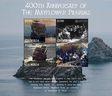 Gambia  2020   Mayflower Ship Compact And Pilgrims At Plymouth Rock   I202104 - Gambia (1965-...)