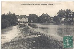 SCEY-sur-SAONE . LE DEVERSOIR , MOULINS ETTANNERIE . CARTE AFFR SUR RECTO LE 2-4-1911 - Altri Comuni