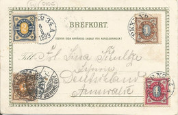 """005105 - SWEDEN - CLEAR TPO PMK """"PKXP N° 34 A""""  CANCELLING COLOURFUL 10 ORE FRANKING TO GERMANY - 1899 - Covers & Documents"""