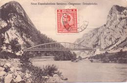 Seltene ALTE   AK   SARAJEVO - Ostgrenze / Bosnien  - Eisenbahnstrecke / Drinabrücke  - 1924 Gelaufen - Bosnia Y Herzegovina