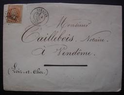 Samatan 1870 Gers Gc 3285 Sur 40c Napoléon, Lettre Pour Vendôme - 1849-1876: Période Classique