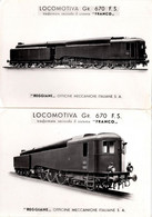 "2 Gdes Photos Gravures Orig. Locomotiva Gr. 670 F.S. ""Reggiane"" Transformata Secondo Il Sistema ""Franco"" Italiane S. A. - Trains"