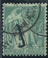 !!! ST PIERRE ET MIQUELON, N°48 VARIETE P ABSENT DANS LA SURCHARGE OBLITERE - Used Stamps