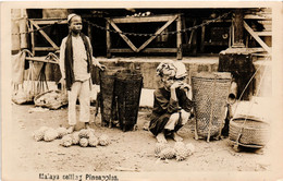 Malaysia, Pineapple Vendors, Types, Vintage Postcard - Malaysia