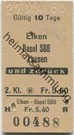Schweiz - Eiken Basel SBB Lausen Und Zurück - Fahrkarte 1960 - Europa
