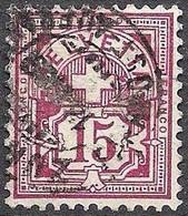 Schweiz Suisse 1889: Faserpapier Mêlé Zu 64A Mi 57X Yv 69 - 15c Purpur Mit O ZÜRICH 14.IV.89 POST-AUFGABE (Zu CHF 28.00) - Gebruikt