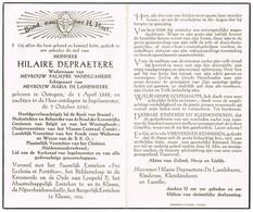 Ingelmunster , Otegem: 1949, Hilaire Depraetere, Hoofdgevolmachtigde Bank Van Brussel, ... ( 2 Scans) - Devotieprenten