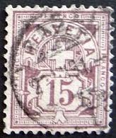 Schweiz Suisse 1889: Faserpapier Mêlé Zu 64Aa Mi 57X Yv 69 - 15c Matt-lila Mit O BASEL 23.VII.91 (Zu CHF 28.00) - Gebruikt