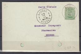 Kaart Van Brussel 33 Bruxelles Naar Brugge - Postmarks With Stars