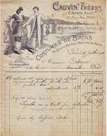 DE 652 - Facture Du Cauvin Freres, Costumes De Bains, Peignoirs, Maillots Et Bonnets De Bains, Paris 1900 - 1900 – 1949