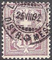 Schweiz Suisse 1889: Faserpapier Mêlé Zu 64Aa Mi 57X Yv 69 - 15c Matt-lila Mit O LAUSANNE 25.VIII.92 (Zu CHF 28.00) - Gebruikt
