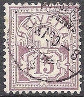 Schweiz Suisse 1889: Faserpapier Mêlé Zu 64Aa Mi 57X Yv 69 - 15c Matt-lila Mit O AUSSERBERG 13.XI.90 (Zu CHF 28.00) - Gebruikt