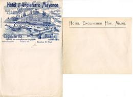 DE 653 - Papier A Lettres Et Enveloppe De L'Hotel D'Angleterre, Mayence (Mainz) C 1900 - 1800 – 1899