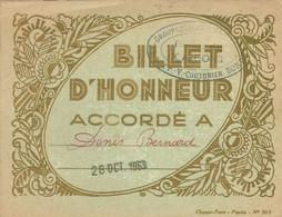BILLET D HONNEUR Du Groupe Scolaire MAINGUY De BONDY En 1963 - Diploma & School Reports