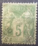 Type SAGE Yvert No 102, NSB 5 C Vert Jaune Obl Cachet Tirete De NOYERS , Oise , 1900 , TB - 1898-1900 Sage (Type III)