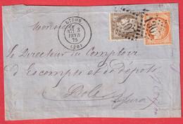 N°38 56 GC 1307 DIJON COTE D'OR DOLE JURA DEVANT DE LETTRE FRONT COVER - 1849-1876: Classic Period