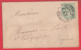 N°111 OBLITERTION JOUR DE L'AN AMBULANT DE JOUR 1ER JANVIER 1902 PARIS A BELFORT POUR DOLE JURA TYPE BLANC - 1877-1920: Semi Modern Period