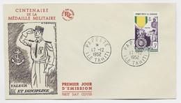 OCEANIE 3FR LETTRE FDC CENTENAIRE DE MEDAILLE MILITAIRE PAPEETE 17.12.1952 ILE TAHITI - Lettres & Documents