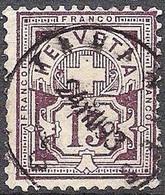 Schweiz Suisse 1889: Faserpapier Mêlé Zu 64Aa Mi 57X Yv 69 - 15c Matt-lila Mit Stempel TAVANNES 24.VIII.93(Zu CHF 28.00) - Gebruikt