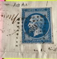 YT 14B - TB -  Margés - Planché Panneau A1 Position 109 - Sur Fragment - 1853-1860 Napoleon III