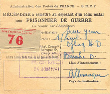 GUERRE 39-45 RÉCÉPISSÉ D'UN COLIS POSTAL POUR PRISONNIER DE GUERRE POUR OFLAG II D Du 24 JUIN 1941 BALARUC LES BAINS - Guerra Del 1939-45