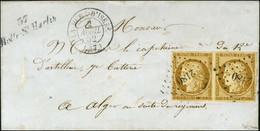 PC 2180 / N° 1 Paire Bistre Brun Càd T 15 LA MURE D'ISERE (37) Cursive 37 / Motte St Martin Sur Lettre Au Tarif De Milit - 1849-1850 Ceres