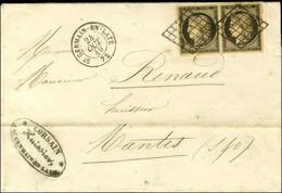 Grille / N° 3 Paire, Belles Marges Càd T 15 ST GERMAIN-EN-LAYE 72 Sur Lettre 2 Ports Pour Mantes. 1849. - TB / SUP. - 1849-1850 Ceres