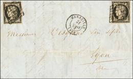 Grille / N° 3 (2) Càd T 15 MARSEILLE (12) Sur Lettre Avec Texte Daté De Beyrouth Pour Lyon. Très Rare Usage Du 20c Noir  - 1849-1850 Ceres