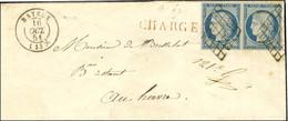 Grille / N° 4 Belles Marges, Paire Càd T 15 BAYEUX (13) Sur Lettre Chargée Pour Le Havre. 1851. - SUP. - R. - 1849-1850 Ceres