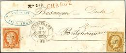 PC 417 / N° 5 + 9 (les 2 Ex Belles Marges) Càd T 14 BLETTERANS (38) 25 MAI 1854 Sur Lettre Chargée Pour Besançon. - SUP. - 1849-1850 Ceres