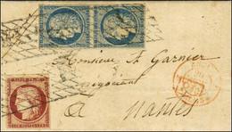 Lettre Avec Texte Daté De Fort De France Le 28 Octobre 1852 Pour Nantes. Au Recto, Grille Sans Fin / N° 4 Paire + 6 (inf - 1849-1850 Ceres
