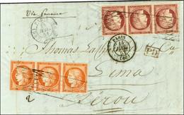Grille Sans Fin / N° 5 Bande 3 Orange Vif + 6 Bande De 3 (1 Ex Pli) Càd PARIS 60 Sur Lettre 2 Ports Pour Lima. Exception - 1849-1850 Ceres