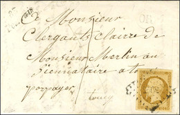 PC 2562 / N° 9 Belles Marges Cursive 83 / Pourrain Sur Lettre Locale Avec Texte Daté '' Aux Marcaux Le 12 Février 1854 ' - 1852 Louis-Napoleon