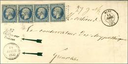 PC 881 / N° 10 Paire + 2 Ex Belles Marges Càd T 15 MENS (37) Cursive 37 / Clelles-en / Trievres Sur Lettre 3 Ports Pour  - 1852 Louis-Napoleon