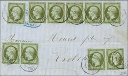 Càd T 15 ST PONS (33) / N° 11 (1 Ex + 2 Paires + Bande De 5) Sur Devant De Lettre Locale Pour Riols. 1862. - TB / SUP. - - 1853-1860 Napoleon III