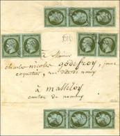 OR / N° 11 (2 Paires + 2 Bandes De 3) Sur Lettre Avec Texte Daté De Faulx Le 15 Juillet 1864, Adressée Dans La Tournée D - 1853-1860 Napoleon III