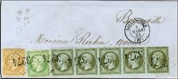 GC 3274 / N° 11 (bande De 5, 2ex Leg Def) + N° 12 + N° 21 Càd T 15 SALLANCHES (89) Sur Lettre Pour Bonneville. 1863. Exc - 1853-1860 Napoleon III